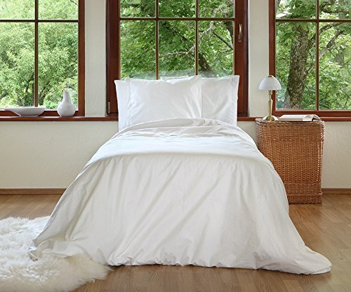 Organic duvet cover with linen lace