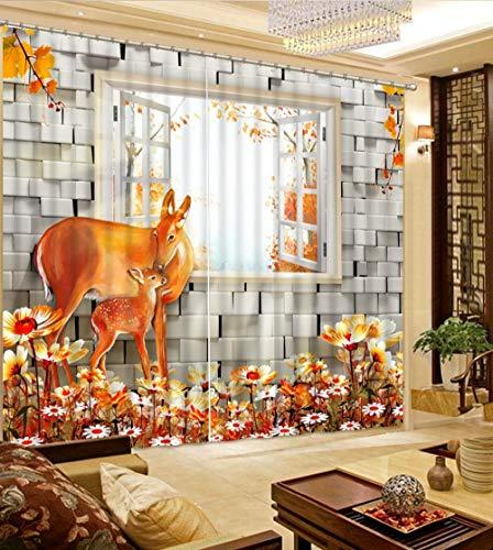 3D Verdunkelungsvorhänge- Gelbe Fensterhirsche -Wärmedämmender Vorhang aus 100{288be106a501086b52610400ba3636cf202de9b8ed77217cbc54b07b81da0d8e} Polyester,Energiesparen Lärm reduzieren Behandlung für Schlafzimmer Wohnzimmer Kinderzimmer Vorhänge-150x166cm