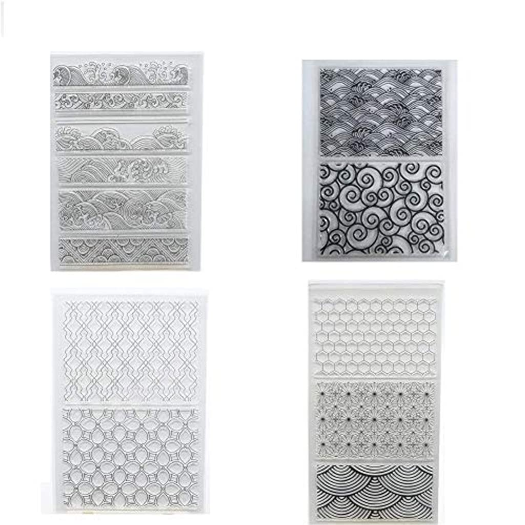 Welcome to Joyful Home 4pcs Different Background Rubber Clear Stamp for Card Making Decoration and Scrapbooking