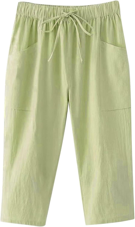 YUNDAN Cotton Linen Pants for Hight Baltimore Mall Waist Drawstr Womens Selling rankings Elastic
