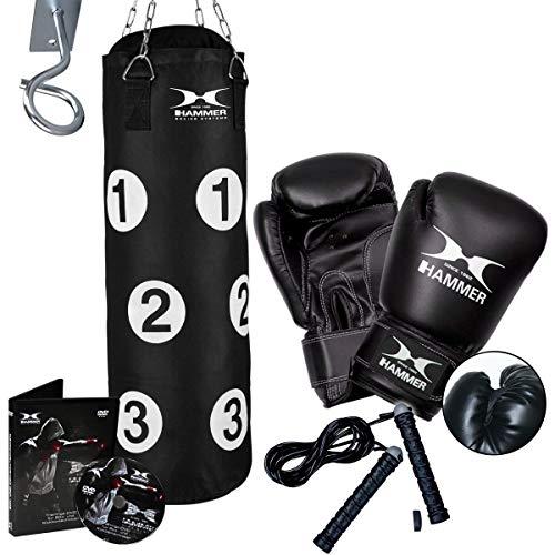 HAMMER Box-Set Sparring Professional, 80 cm Langer Boxsack mit nummerierten Trefferflächen, Boxhandschuhe, Springseil, Profi-Deckenhacken, Drehwirbel, Trainings-DVD