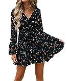 Nensiche 2019 Women Short Sleeve Wrap Boho Floral Mini Dress Ladies Summer Sundress Holiday V-Neck Women's High Waist Retro Beach Skirt (Black, L)