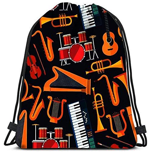 Dingjiakemao Cinch Rugzak String En Percussie Messing Toetsenbord Platte Muziekinstrumenten Met Saxofonen Waszak Gym Yoga Tas