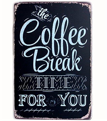 iTemer. pubblicità Bar Serie, 1x Retro caffè Poster per Il Caffetteria e Ristorante di Parola' The Coffee Break Time for You' con Una Tazza di caffè Size 20x30cm