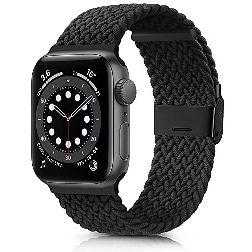 DEOU Correa Compatible con Apple Watch 38mm 42mm 40mm 44mm,Ajustable Trenzada Elástica con Hebilla Pulseras de Repuesto Deportiva Correa para iWatch Series SE 6 5 4 3 2 1(42mm/44mm,Negro)