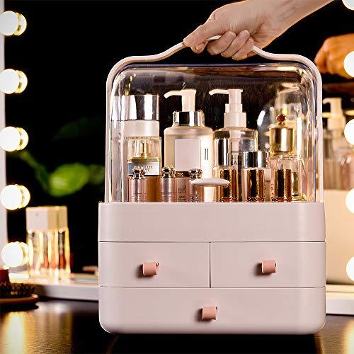 RMAN® Make Up Organizer Schublade Staubdicht Kosmetik Aufbewahrung Beauty Organizer Aufbewahrung 180°Drehbar Schmink Aufbewahrung Kosmetikbox für Dresser Bad Schlafzimmer,Pink