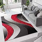 TAPISO Luxury - Alfombra Moderna para salón, Dormitorio, salón, Color Rojo y Gris geométrico de Pelo Corto, 80 x 150 cm