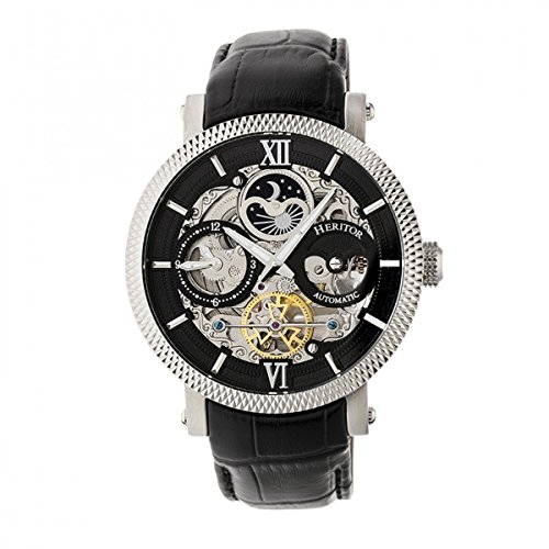 Heritor Automatic Men's 'Aries Skeleton' Stainless Steel and Leather Watch, Color:Black (Model: HERHR4405)