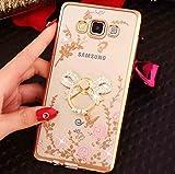 Galaxy 2018 A8Plus Diamond Ring Movie Stand Case, Shiny