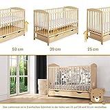 Gitterbett Babybett 2in1 60x120 mit Schublade Schlupfsprossen und Lattenrost Höhenverstellbar Umbaubar zum Juniorbett für Mädchen und Junge - 7