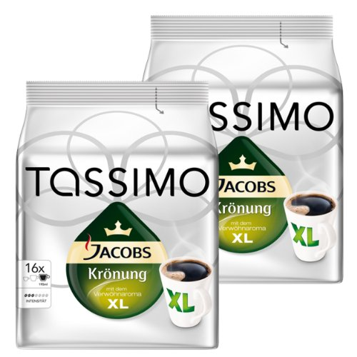 Tassimo Jacobs Krönung XL, Kaffee, Arabica, Kaffeekapsel, gemahlener Röstkaffee, 2 x 16 T-Discs