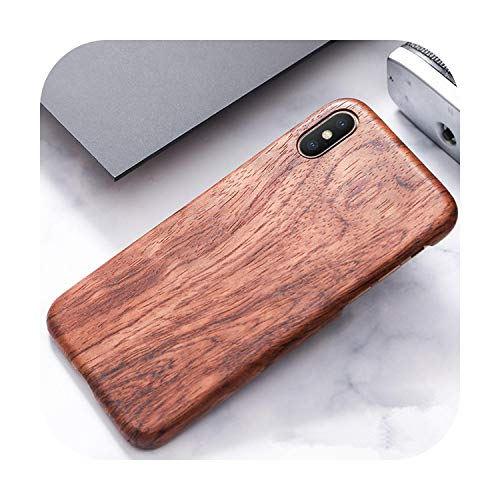 Who-Care For Apple For Iphone 11 Pro X Xs Max Xr Walnut Enony Wood Rosewood Mahogany Wooden Back Case Cover-Rosewood-For Iphone Xs