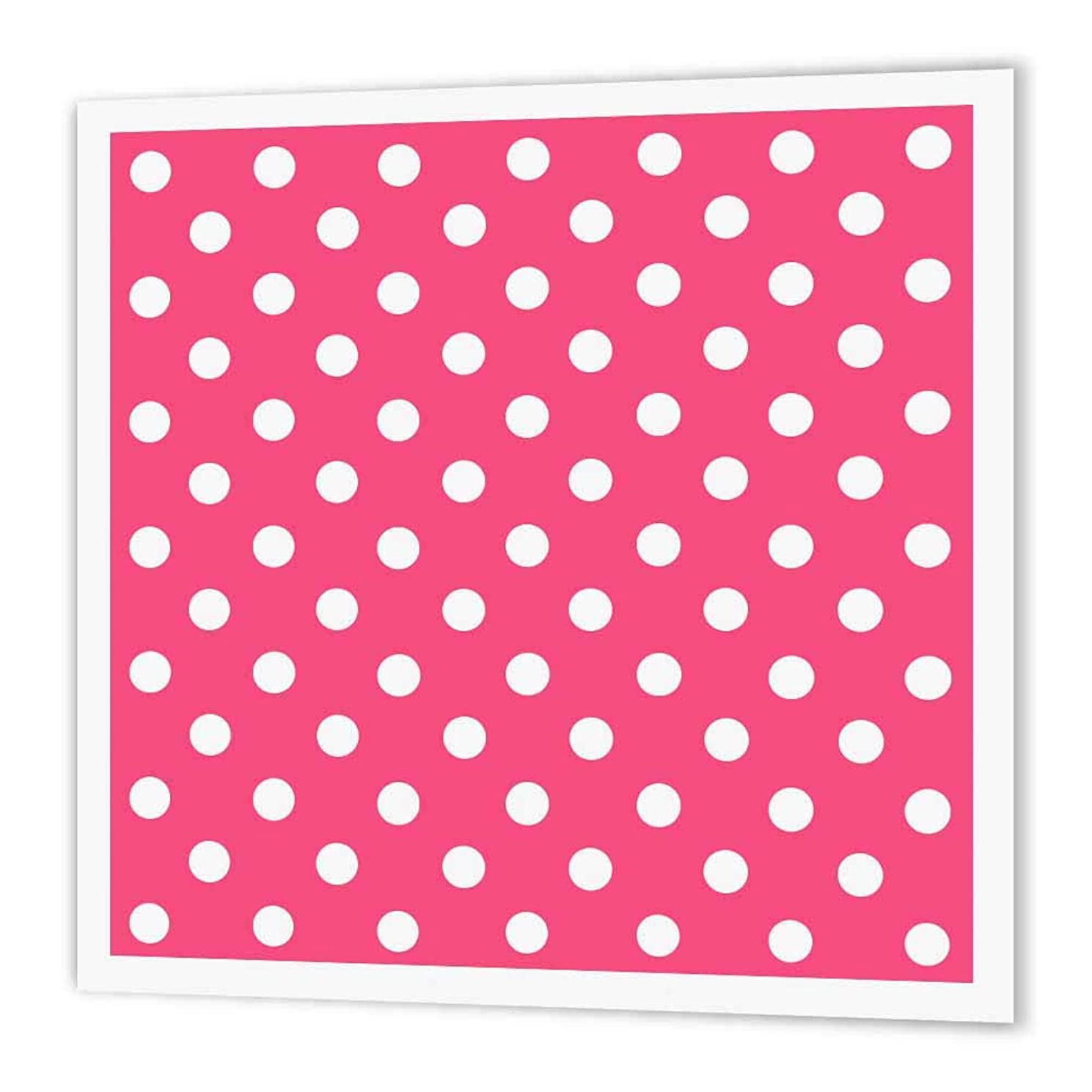 3dRose ht_20403_3 Pink and White Polka Dot Print-Iron on Heat Transfer Paper for White Material, 10 by 10-Inch