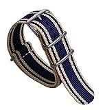 22 millimetri blu super soft bande beige/scure preppy degli uomini sguardo NATO Stile della vigilanza di nylon di tela cinghie di sostituzione