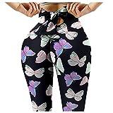 Frauen Yoga Pants Gedruckt hohe Taillen-Power Flex Capris Workout Gamaschen für Fitness Laufen...