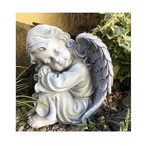 Radami XXL Engel mit Flügel Grabengel Schutzengel Grabfigur Grabschmuck Junge oder Mädchen (Mädchen)