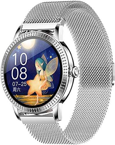 TYX-SS Reloj Inteligente Mujeres Impermeable Mensaje de frecuencia cardíaca y recordatorio de Llamadas Deporte Smartwatch Connect Android iOS-Plata Malla