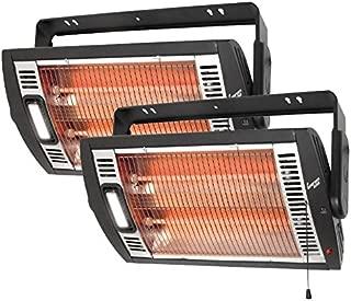Comfort Zone CZQTV5M Ceiling Mount Quartz Heater,Black, 1500 Watts 2 Pack