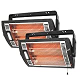 Comfort Zone CZQTV5M Ceiling Mounted Radiant Quartz Heater with Halogen Light Included - 2pk