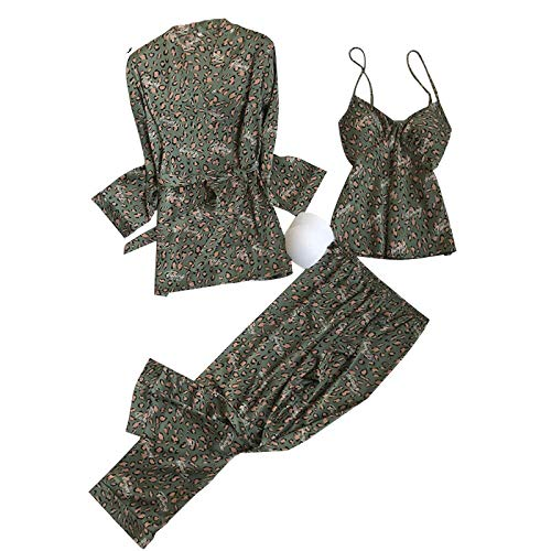 LEYUANA Pijamas de otoño Camisones, Pijamas de Talla L XL Conjuntos de Ropa de hogar, Manga Larga y Pantalones Conjuntos de Pijamas Regalos de San Valentín de Moda XL beigeleopardset