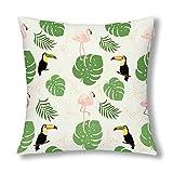 Retro Flamingo Tukan und Tropische Bananenblätter Dekor Dekokissen Kissen, dekorative Kissen mit...