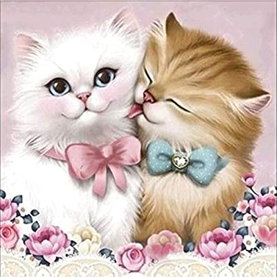 KYRRELY DIY 5D Diamond Painting, Full Drill DIY 5D Diamond Painting Kits Adorable Cat Design Art Tool Kit Includes All Accessories Cross Stitch Craft Kit Embroidery Rhinestone