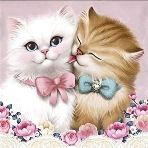 DIY 5D Diamond Painting by Number Kits, Full Drill DIY 5D Diamond Painting Kits Adorable Cat Design Art Tool Kit Includes All Accessories Cross Stitch Craft Kit Embroidery Rhinestone (Cat, 30x30cm)