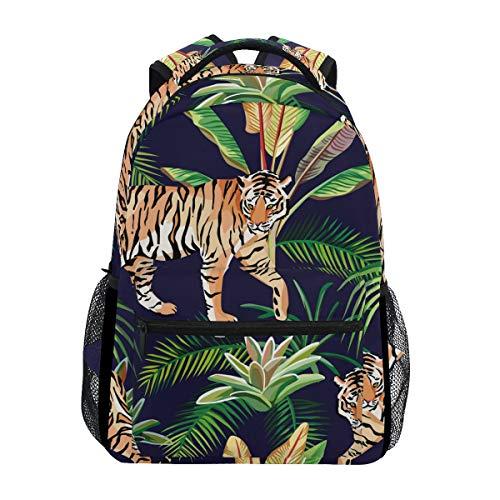 Hunihuni Animal Tiger Tropical Leaves Durable Backpack College School Book Shoulder Bag Daypack for Boys Girls Man Woman