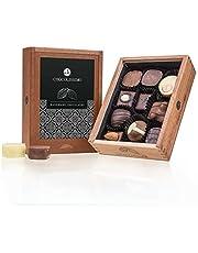 Elegance - 10 lyxchoklad - utan alkohol   Premiumkvalitet i en snygg trälåda   Presentidé   Gåva   Män   Kvinnor   Handgjord