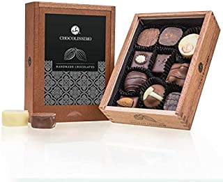 Elegance - 10 lyxchoklad - utan alkohol | Premiumkvalitet i en snygg trälåda | Presentidé | Gåva | Män | Kvinnor | Handgjord