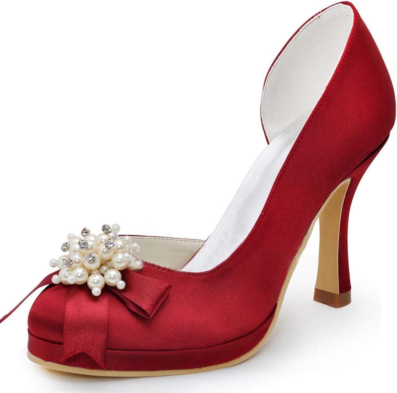 Charmstep Frauen Hochzeit Plattform High Heels Satin Party Abend Prom Dress Pumps Schuhe MZ1020  | Qualitätsprodukte