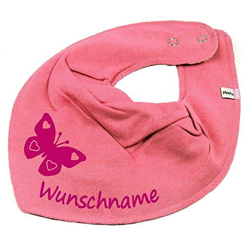 Elefantasie Halstuch Schmetterling mit Namen oder Text personalisiert bubblepink für Baby oder Kind