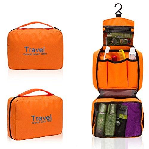 careforyou® Unisexe portable Voyage multifonction Sac étanche lavage Toilettage à suspendre Trousse de toilette Sac Voyage maquillage Make Up Case orange 8.67''*2.76''*6.23''