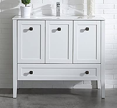 Ove Decors Andora 40 Bathroom Single Vanity in Matte White with Ceramic Countertop and Sink, 40-Inch by 18-Inch