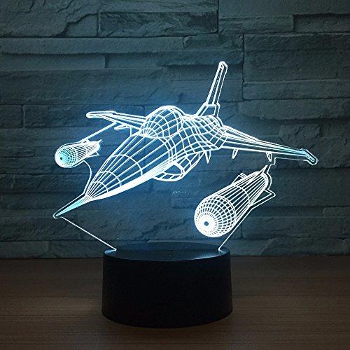Luz nocturna LED New Warplane Aircraft 3D, lámpara de mesa, multicolor