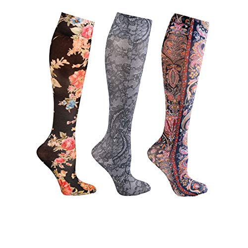 Celeste Stein Women's Knee-High Stockings - 3 Pack Closed Toe Mild Compression 8-15 mmHg - Paisley Floral