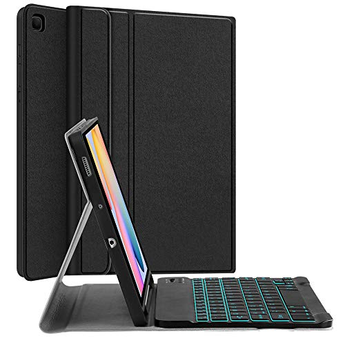 Backlit-Keyboard Case for Samsung-Galaxy-Tab S6 Lite 10.4', JUQITECH Smart Case with Backlit Keyboard for Galaxy Tab S6 Lite SM-P610 SM-P615 Detachable Wireless Keyboard Cover with S Pen Holder, Black