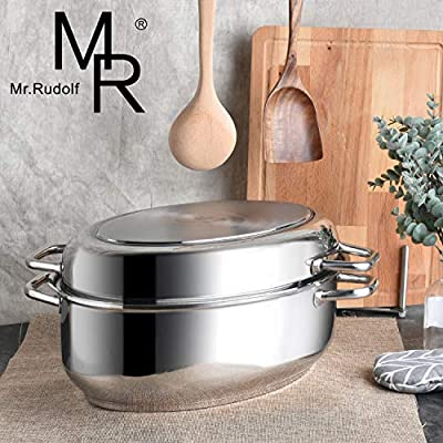 Mr Rudolf 18/10 Stainless Steel 17-inch Multi-Use Baking and Roasting Pan with Wire Rack and Lid Dishwasher Safe Oven Safe Oval Roasting Pan PFOA Free Maximum Capacity?12 Quart oval roaster+ 5 Quart