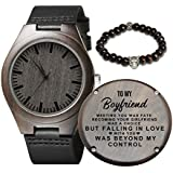 Personalized Wood Watches Gifts for Boyfriend, Engraved Handmade Mens Wood Watches for Boyfriend Christmas Anniversary Graduation Gifts