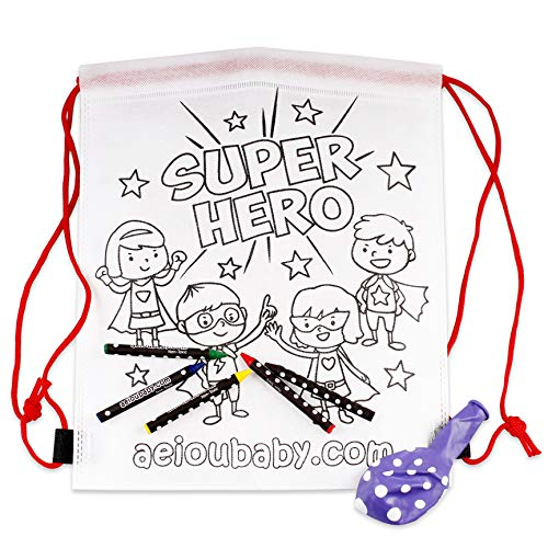 10 Rucksack zum Ausmalen | 10 einzelne Taschen mit 5 bunten Wachsmalstiften und Luftballon | Geschenk Kinder auf Festen und Geburtstagen