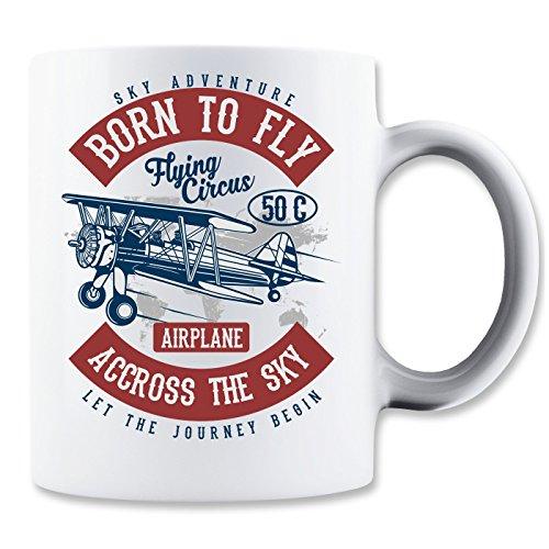 Sky Adventure Born TO Fly Flying Circus Accross The Sky Let The Journey Begin Klassische Teetasse Kaffeetasse