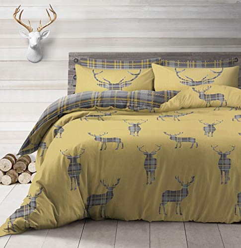 Velosso King Size Ochre Yellow Printed Stag Tartan Plaid Duvet Cover & Pillowcase Bedding Set