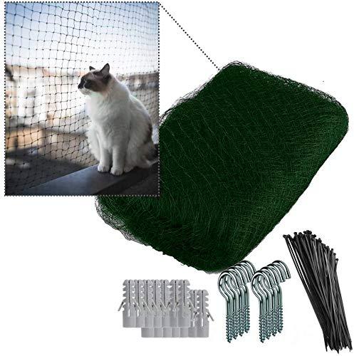 NEEZ Verstärktes Katzennetz aus HDPE Material für Balkon & Fenster 3x8m I Katzennetz inkl. Befestigungsset I Befestigung auch ohne Bohren