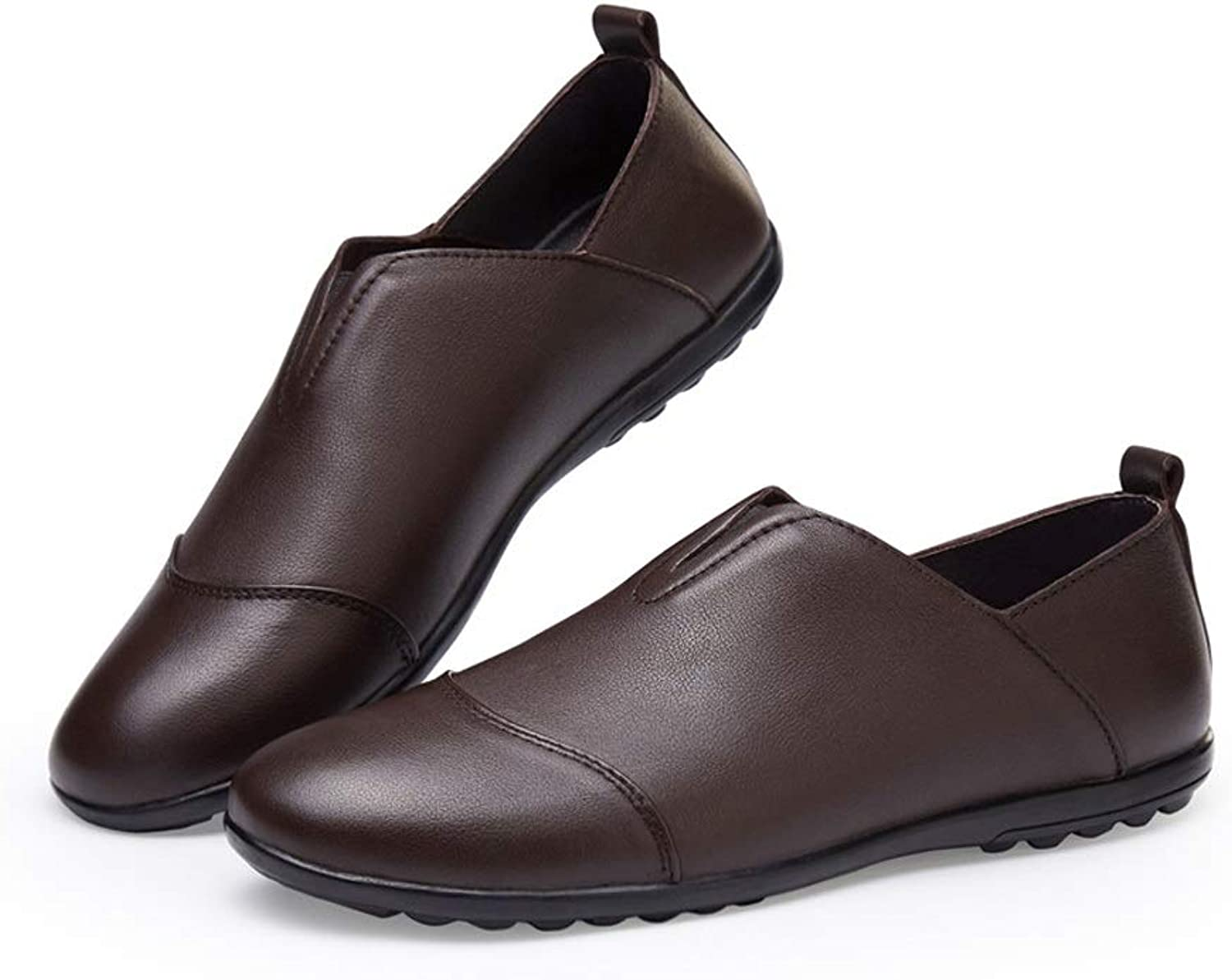 CATEDOT Peas shoes Spring and summer Lightweight Lazy shoes Comfortable Genuine Leather (color   Brown, Size   9UK)