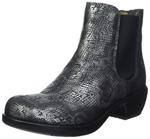 FLY London Damen Make Chelsea-Stiefel, Black/Silver, 41 EU