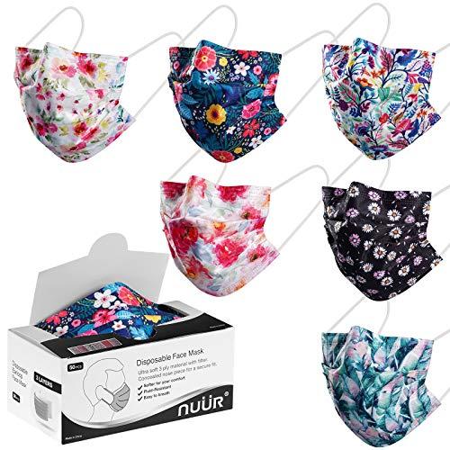 NUÜR Einweg-Gesichtsmasken, florales Muster, 3-lagig, mit Filterschicht und elastischen Ohrschlaufen, 50 Stück/Box