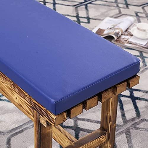 Cojín de banco de cuero sintético de 3 cm, cojín largo para sofá de 2 plazas de 3 plazas, alfombrilla de repuesto para muebles de jardín, para interiores y patio, cojines largos de banco, color azul