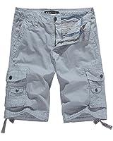 WenVen Men's Cotton Twill Cargo Shorts Outdoor Wear Lightweight(No.4 Light Grey,34)