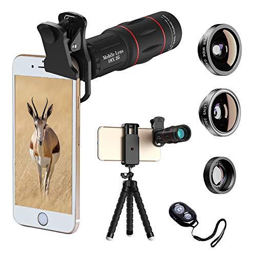 SEGEMS Hottest Premium 18x telephoto Lens+ 4 in1 Lens kit+Premium 18x Telescope+180 fisheye+0.4X Wide Angle+10x Macro Lens with Flexible Tripod (Black, 18x Lens)+Remote Shutter Control
