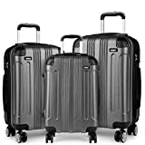 Kono Luggage Sets of 3 Piece Lightweight 4 Wheels Hard Shell ABS Travel Trolley Suitcases (Set of 3)